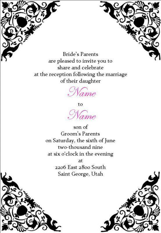 Black-and-white-Reception-Cheap Wedding Invitation Templates