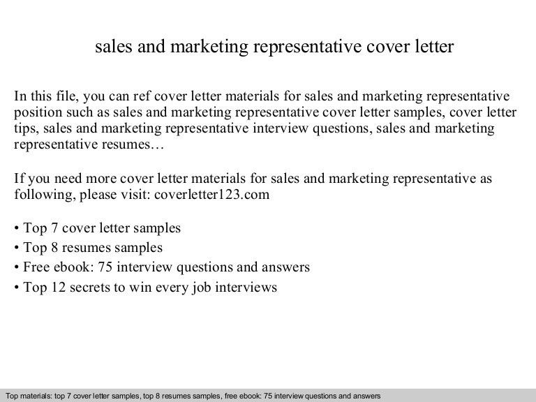 Cover letter sales and marketing manager