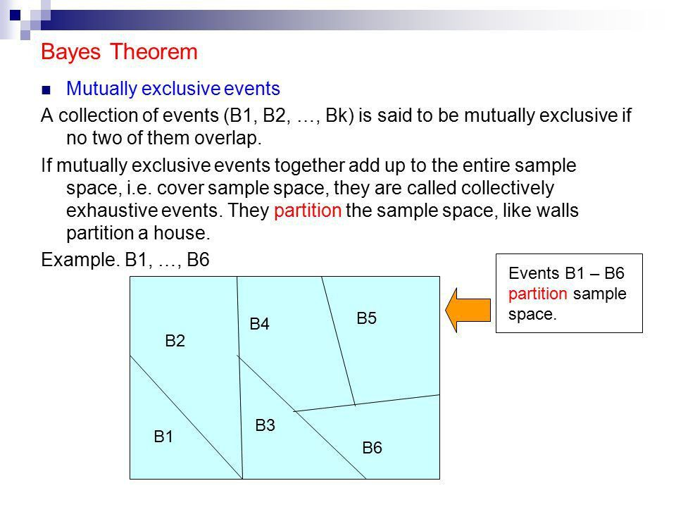 Bayes Theorem Mutually exclusive events A collection of events (B1 ...