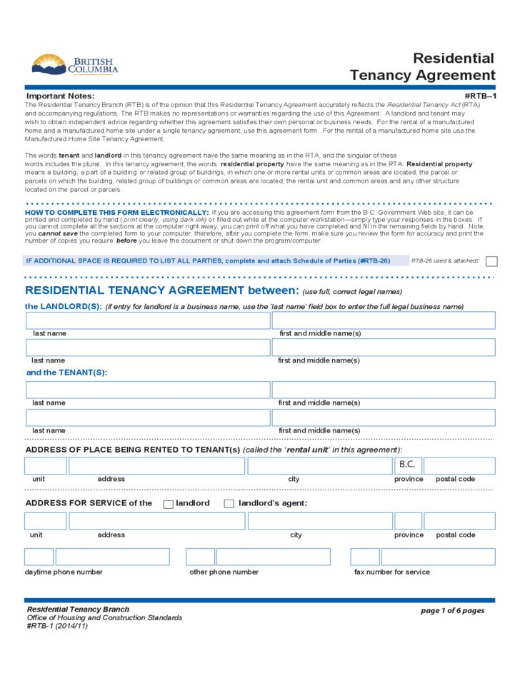 Residential Tenancy Agreement - British Columbia Free Download