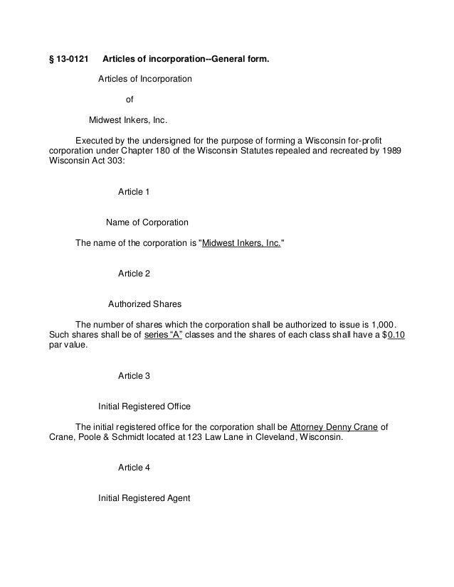 Article Of Incorporation Template - Contegri.com
