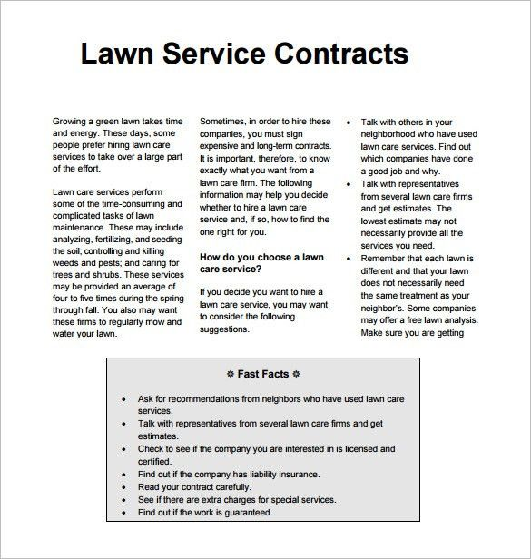 6+ Lawn Service Contract Templates – Free Word, PDF Documents ...