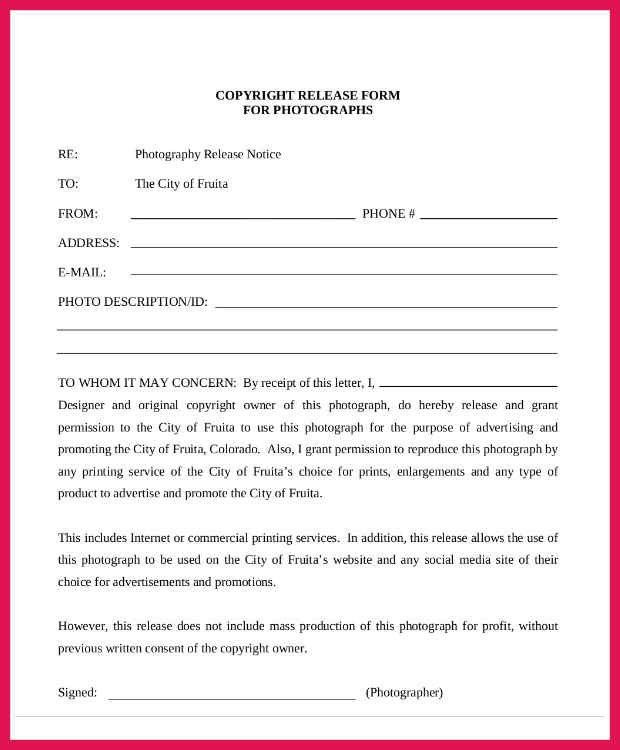 Re Consent Form Template. photography consent form photography ...