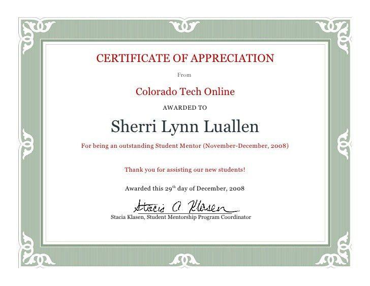 Mentor Certificate 0804 B