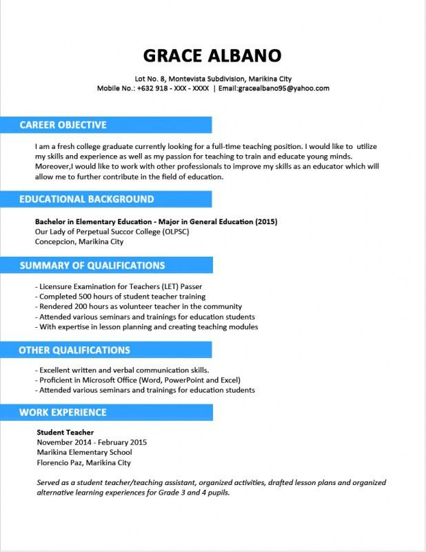 Resume Format In Word File For Teachers By Teacher | Professional ...