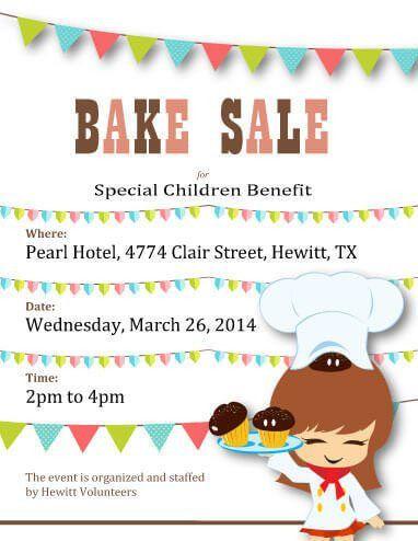 Cartoon Chef Special Children Benefit Bake Sale | bake sale ...