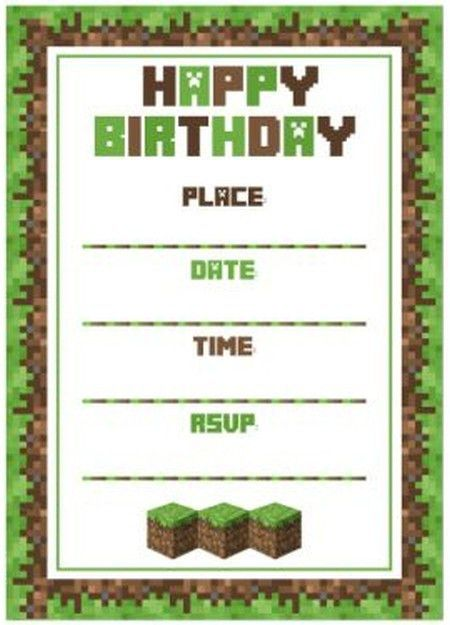 Minecraft birthday party invitation template | Invitations Online