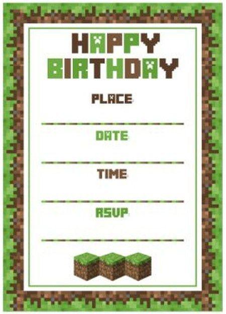 Minecraft birthday party invitation template | Invitations Online