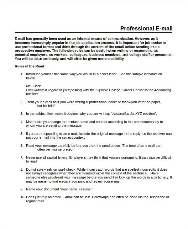 Professional Email Template - 5+ Free Word, PDF Document Downloads ...