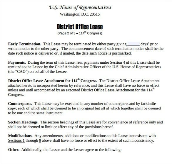 Sample Office Lease Agreement  8 + Documents In Word, PDF