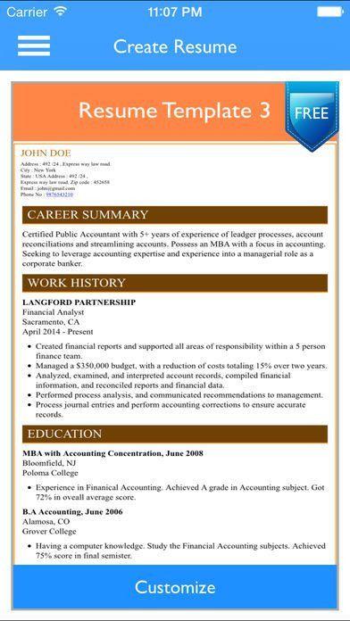 Free Resume Builder App - Professional CV Maker and Resumes ...