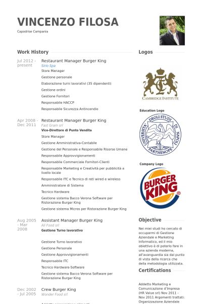 Enchanting Burger King Resume 1 Restaurant Manager Resume Samples ...