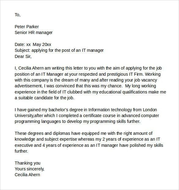 Sample It Cover Letter Samples , Examples & Format - 7+Download ...