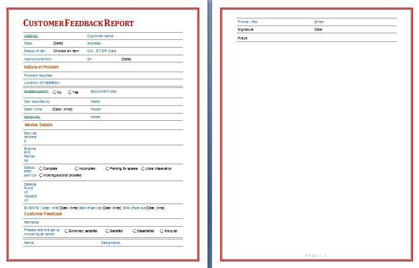 Free Customer Feedback Report Format | Free Report Templates