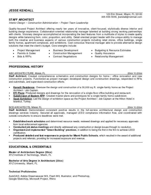 Perfect Staff Architect Resume Template Sample for Your ...