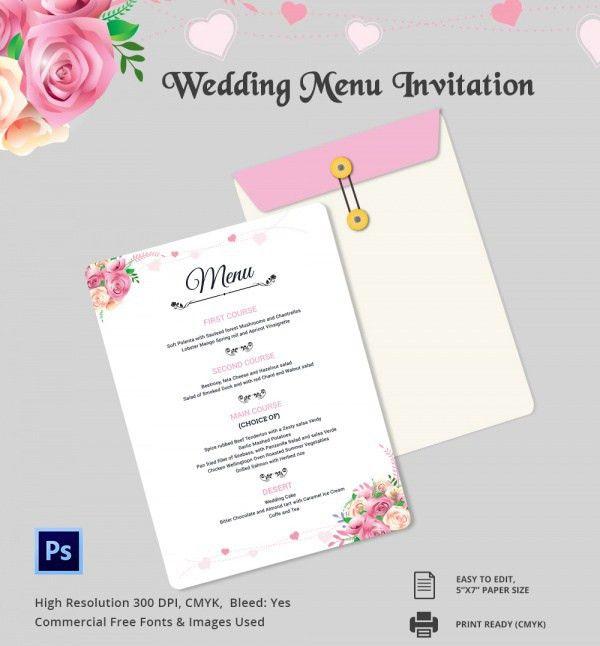 Wedding Menu Template 24+ Download in PDF, PSD, Word, Vector ...