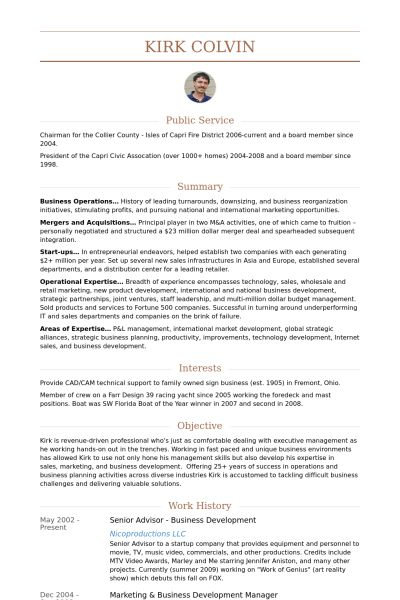 Senior Advisor Resume samples - VisualCV resume samples database