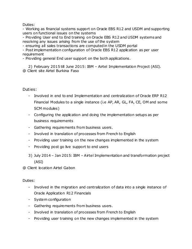Resume Oracle EBS R12 English and French speaking consultant (upd) - …