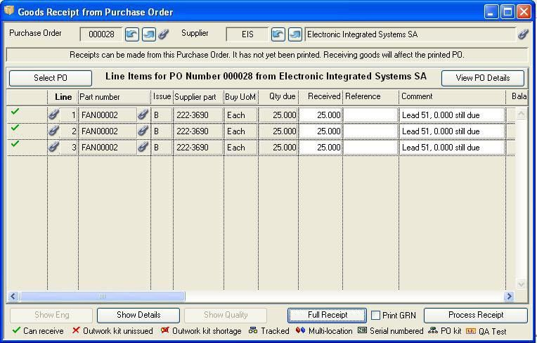 Goods Receipt and Purchase History: Goods Receipt from Purchase Order