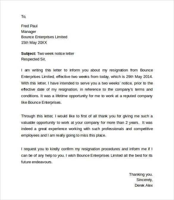 examples of resignation letters 2 weeks notice