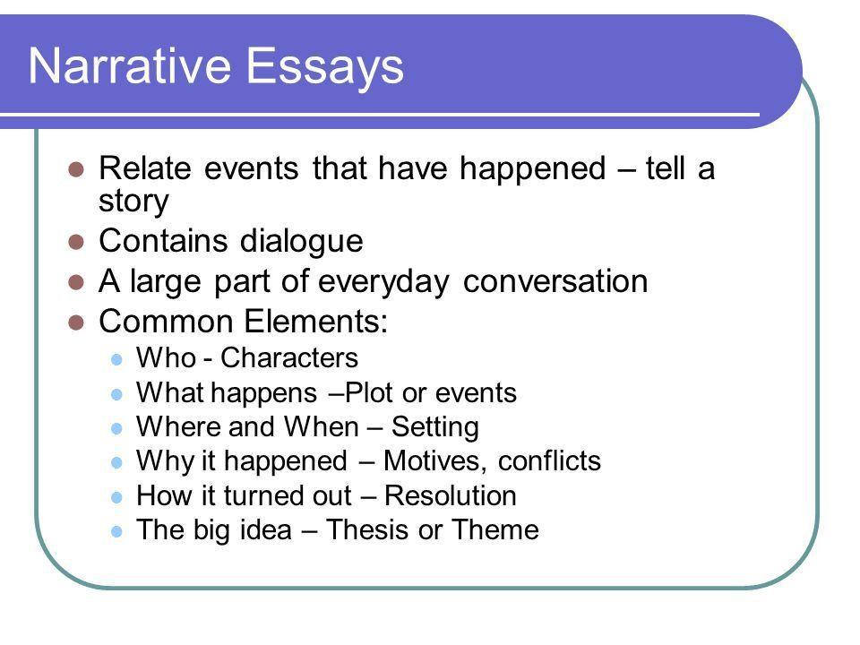 Narrative essay lesson powerpoint