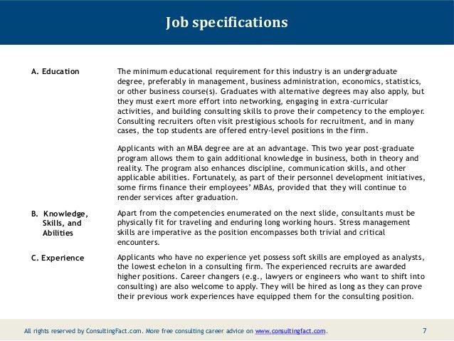 Job Description for a Management Consultant