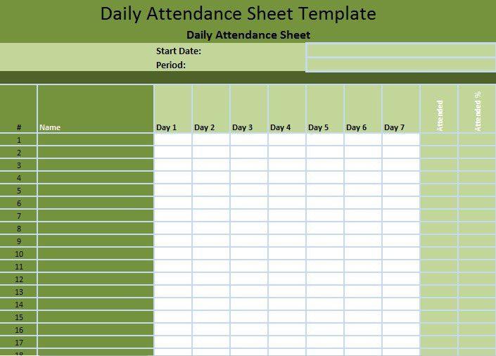 Staff Attendance Spreadsheet Template Format - Excel Spreadsheet ...
