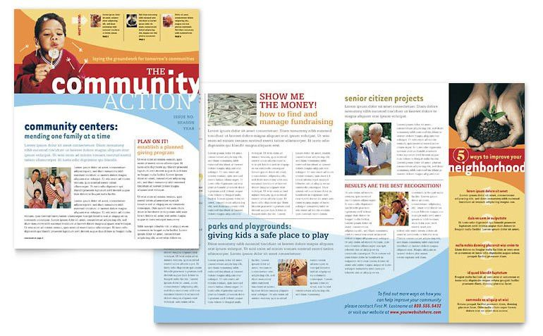 Community Non Profit Newsletter Template - Word & Publisher