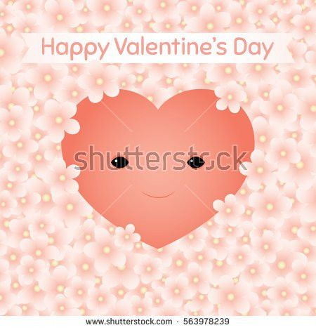Vector Greeting Card Illustration Cute Smiling Stock Vector ...