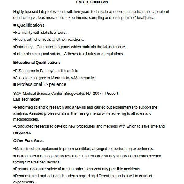 Vibrant Ideas Lab Technician Resume 6 Lab Technician Resume ...