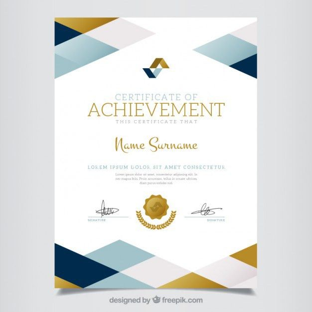 Geometric certificate of achievement Vector | Free Download
