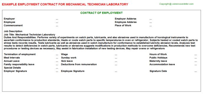 Electro Mechanical Tester Cover Letter