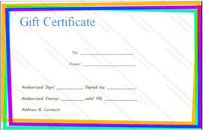 Colorful border gift certificate template - Gift Certificates
