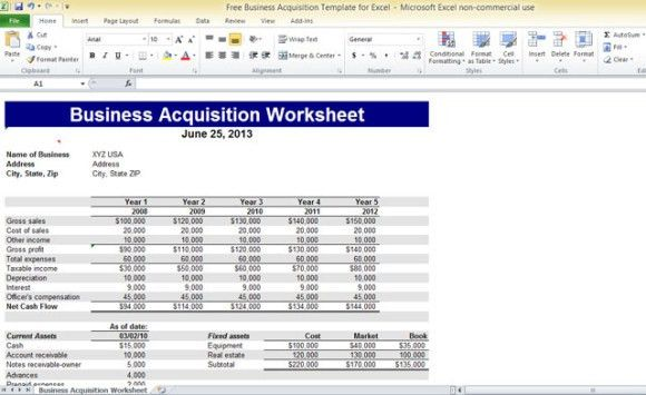 Free Business Acquisition Template For Excel