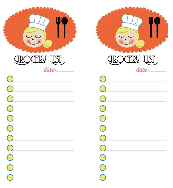 Sample Grocery List Template - 9+ Free Documents in Word, Excel, PDF