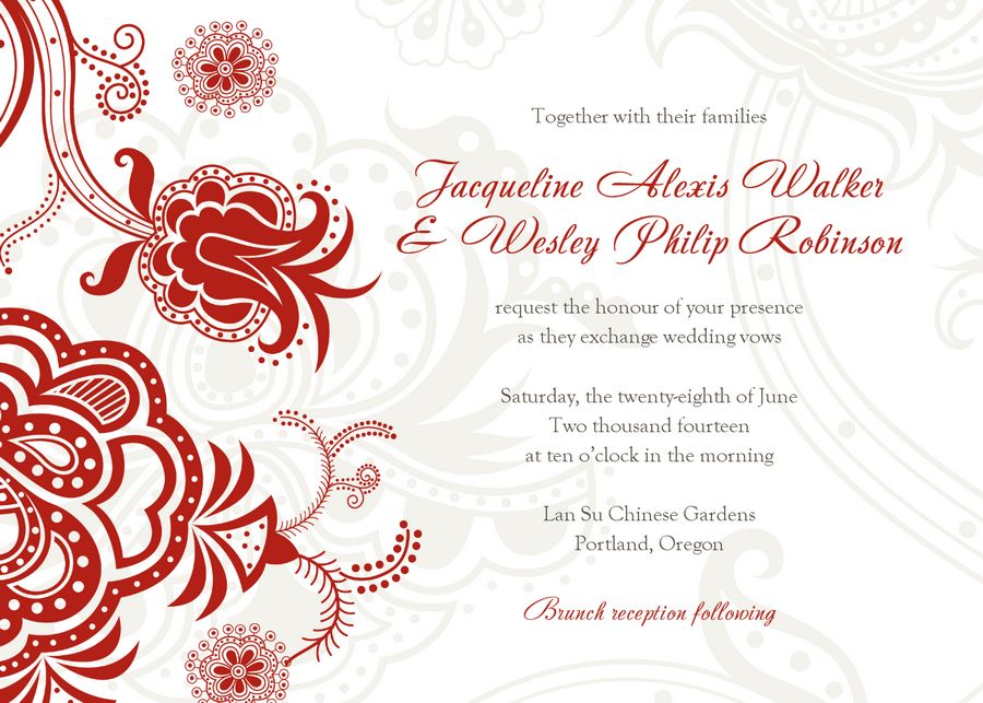 damask wedding invitation templates free