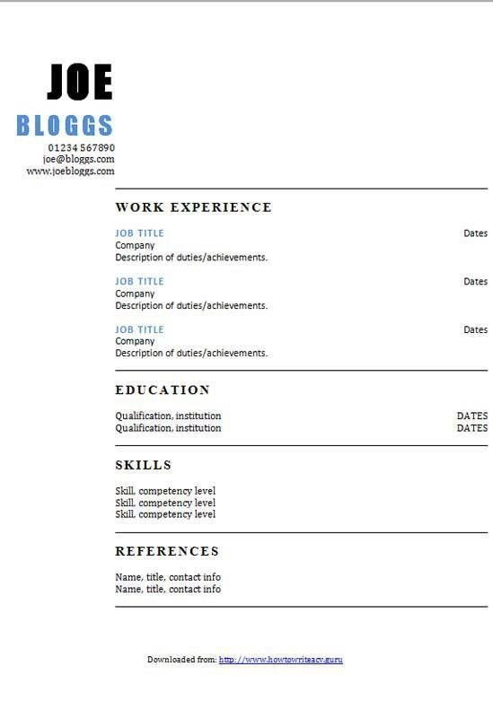 Two column blue accent CV template - How to write a CV