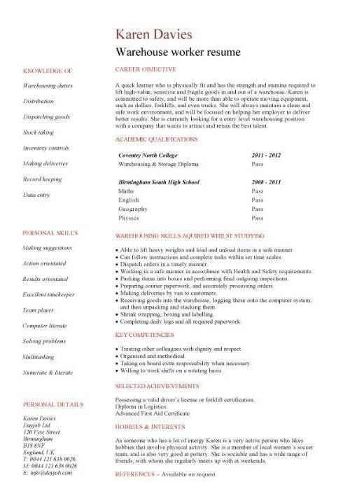 Cool Design Warehouse Resume Samples 13 Warehouse Worker Resume ...