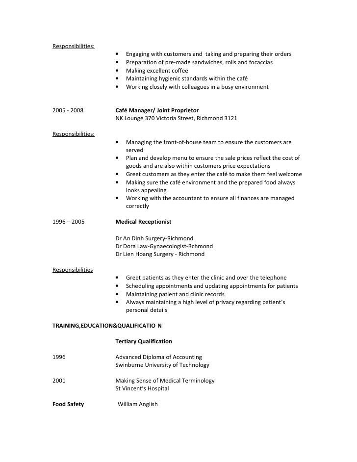 Natalie Hien Dao Resume For Food Service Assistant(Rtf)