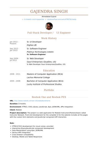 Ui Developer Resume samples - VisualCV resume samples database
