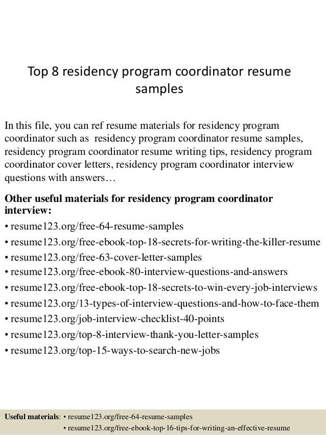 top 8 residency program coordinator resume samples 1 - Program Coordinator Resume