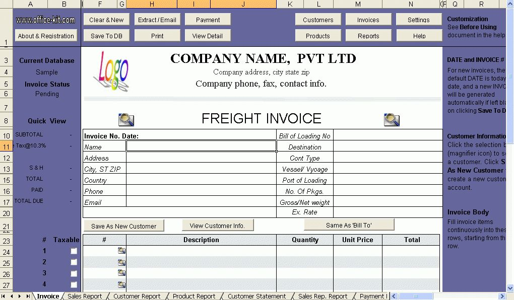 Trucking Invoice Template Free - Invitation Template