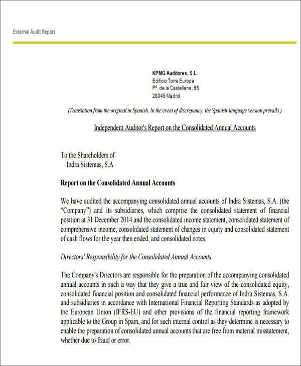 Sample External Audit Report - 8+ Examples in PDF, Word