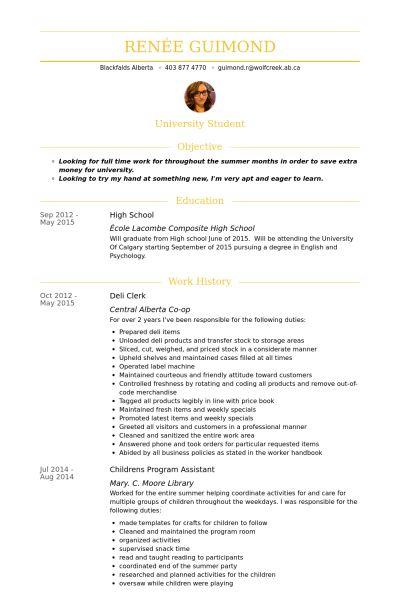 Deli Clerk Resume samples - VisualCV resume samples database