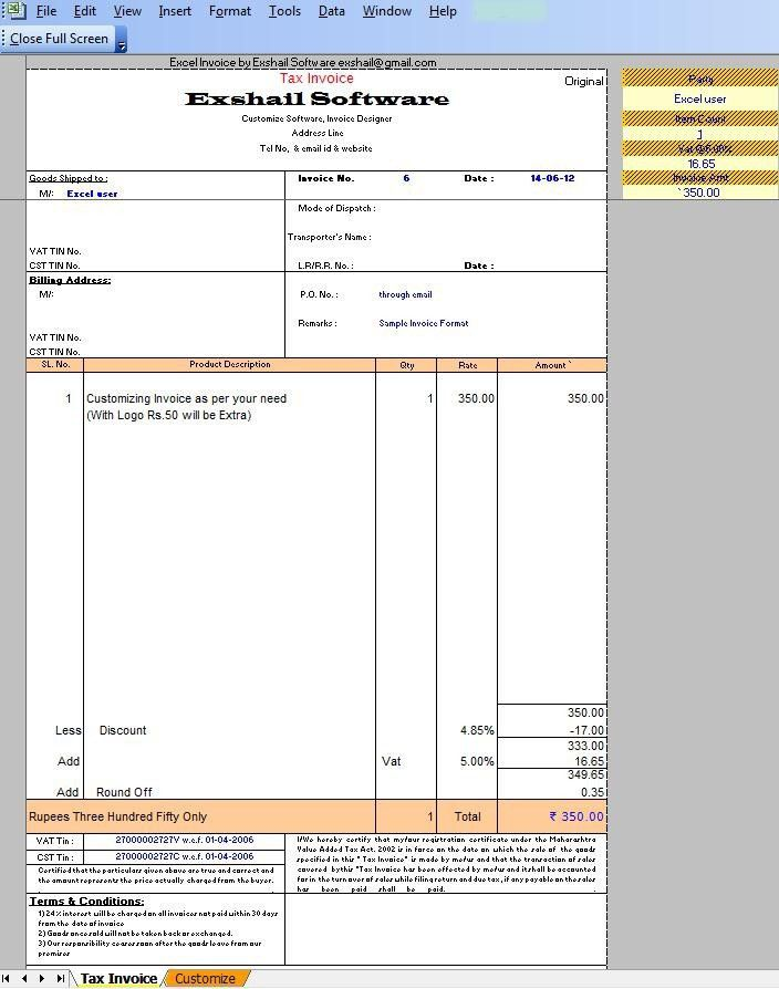 Invoice Format India | free printable invoice