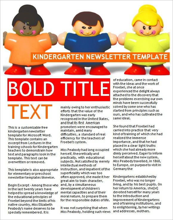 9+ Kindergarten Newsletter Templates - Free Sample, Example, Format