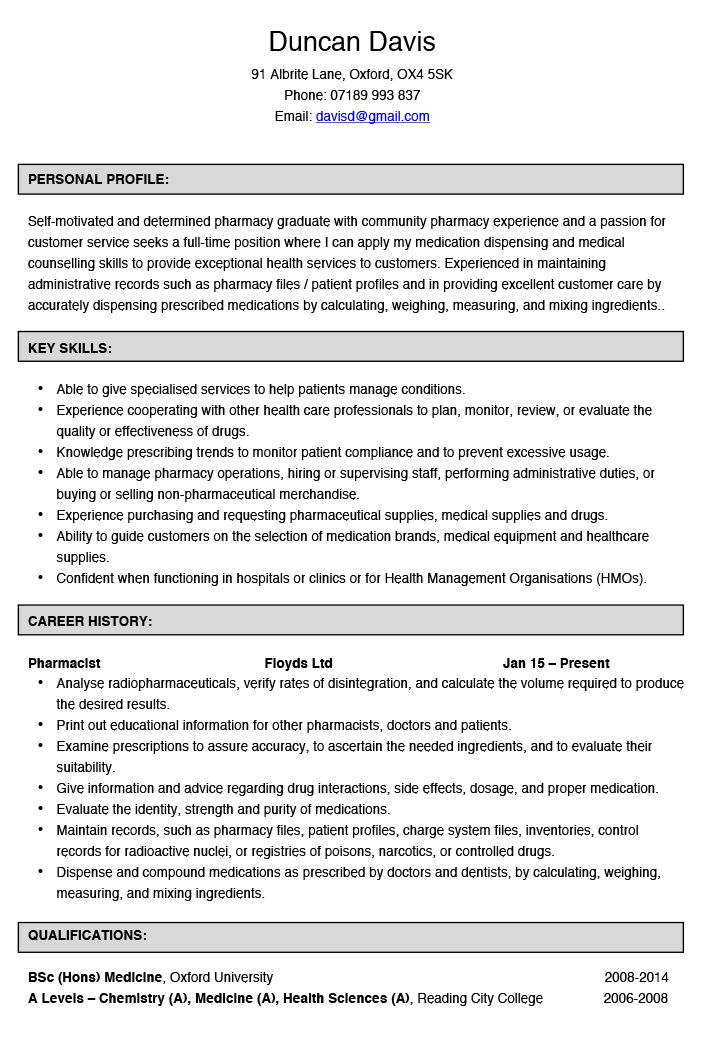Pharmacist CV Example | Hashtag CV