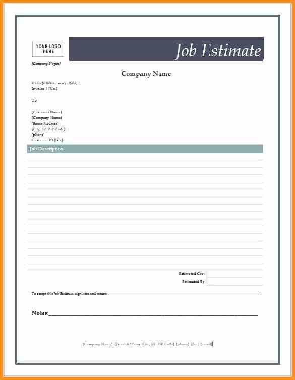 7+ job estimate template | cook resume