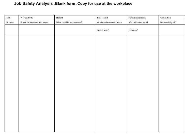 Job Safety Analysis Template. Excavation Job Safety Analysis ...