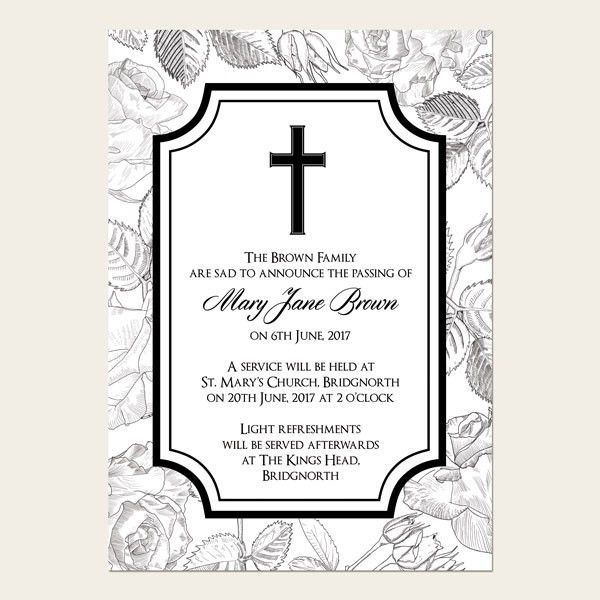 Funeral Announcement Cards - Rose Border